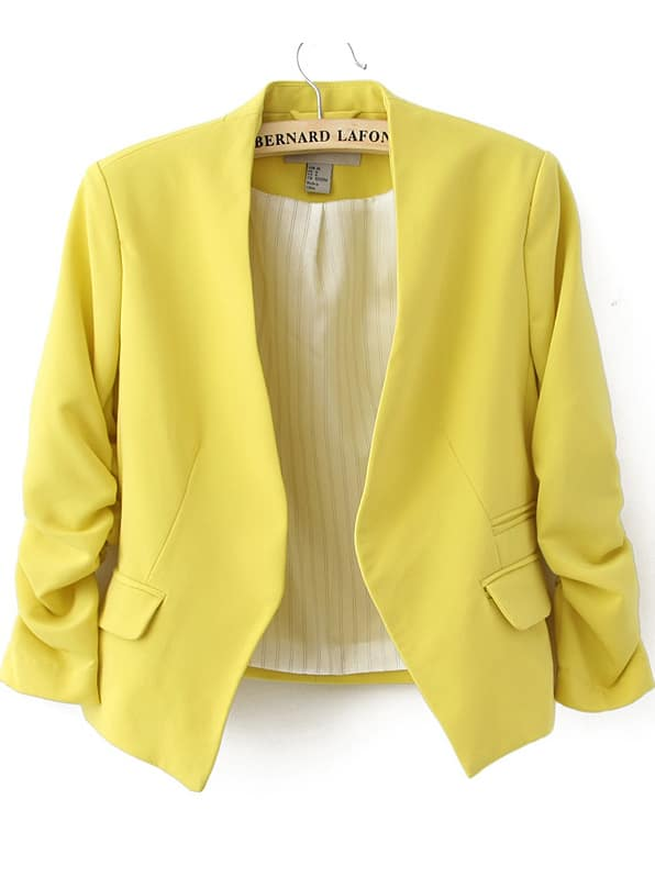 Yellow Collarless Ruched Sleeve Crop Back Blazer -SheIn(Sheinside)