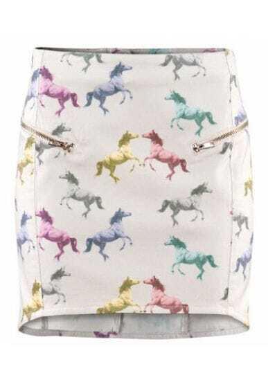 White Horse Print Zipper Bodycon Skirt