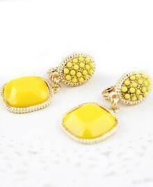 Yellow Bead Gemstone Gold Earrings
