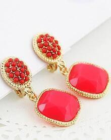 Red Bead Gemstone Gold Earrings