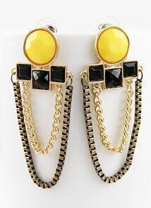 Black Yellow Gemstone Gold Chain Earrings