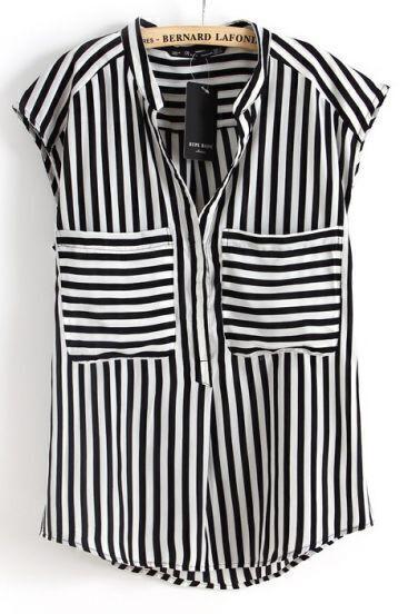 Black White Vertical Stripe Short Sleeve Chiffon Blouse