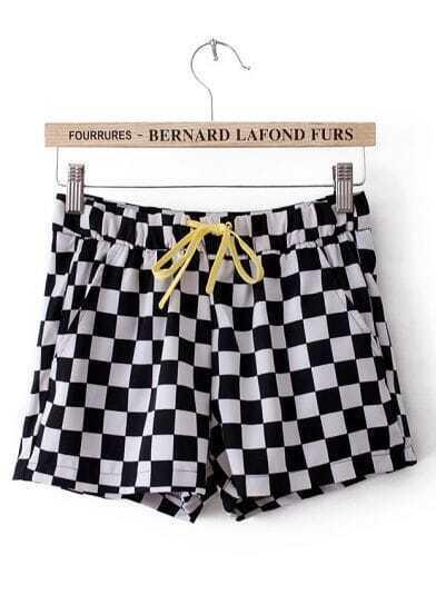 Black White Plaid Drawstring Waist Shorts
