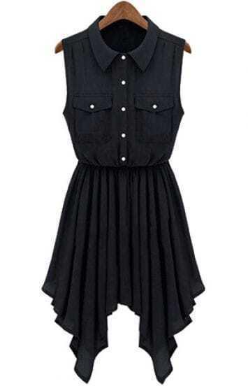 Black sleeveless asymmetric pleated hem shirt dress shein for Black pleated dress shirt