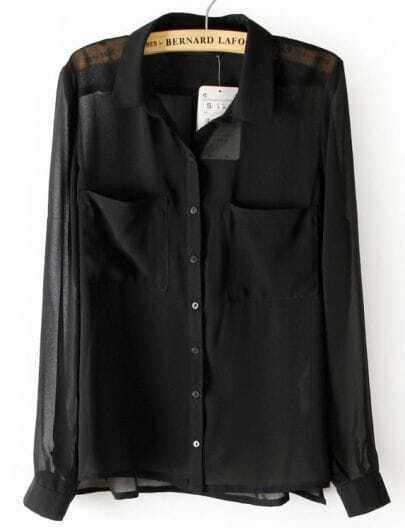 Black Long Sleeve Twin Pockets Front Semi Sheer Blouse