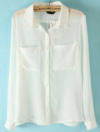 White Long Sleeve Twin Pockets Front Semi Sheer Blouse