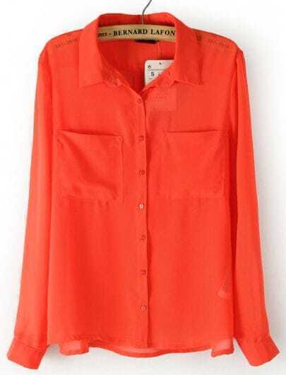 Orange Long Sleeve Twin Pockets Front Semi Sheer Blouse