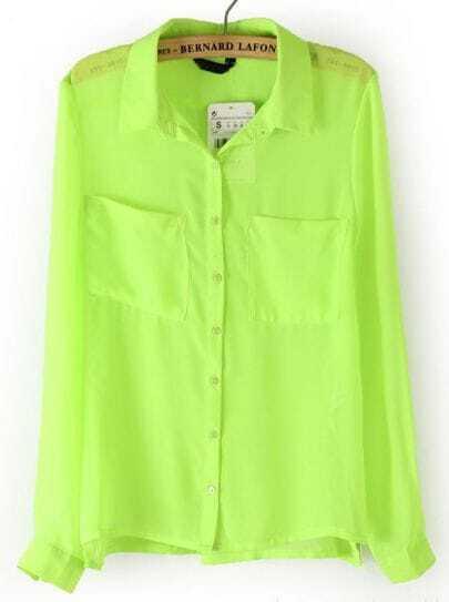 Neon Green Long Sleeve Twin Pockets Front Semi Sheer Blouse