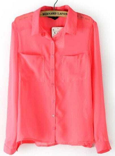 Dark Pink Long Sleeve Twin Pockets Front Semi Sheer Blouse