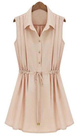Apricot Sleeveless Drawstring Waist Pleated Chiffon Shirt Dress
