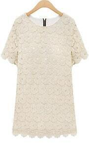 Beige Round Neck Short Sleeve Lace Scallop Hem Dress
