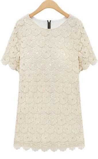 Beige Round Neck Short Sleeve Lace Scallop Hem Dress