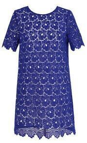 Royal Blue Round Neck Short Sleeve Lace Scallop Hem Dress