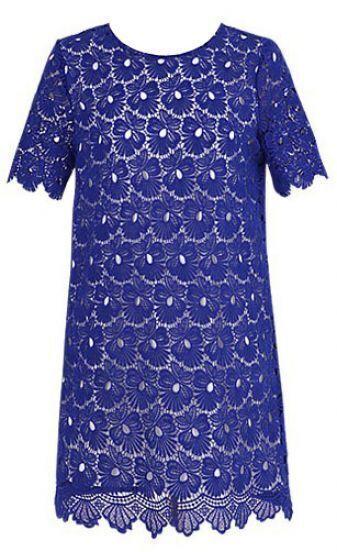 Royal Blue Round Neck Short Sleeve Lace Scallop Hem Dress