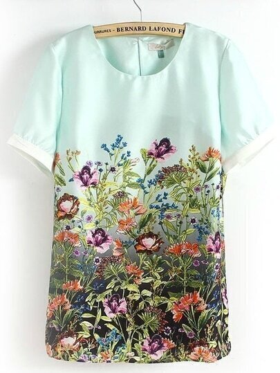 Light Green Short Sleeve Florals Print Blouse