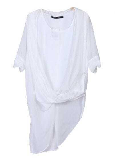 White Half Sleeve Wrap Asymmetric Hem Chiffon Blouse