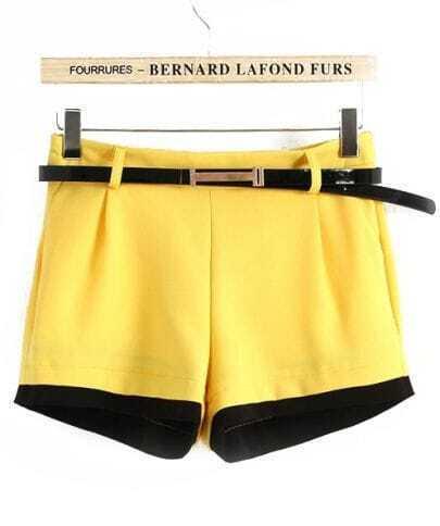 Yellow and Black Block Straight Shorts