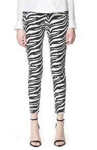Black and White Zebra Print Denim Pants