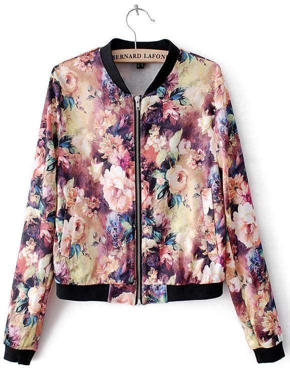 Long Sleeve Blooming Florals Print Bomber Jacket -SheIn(Sheinside)