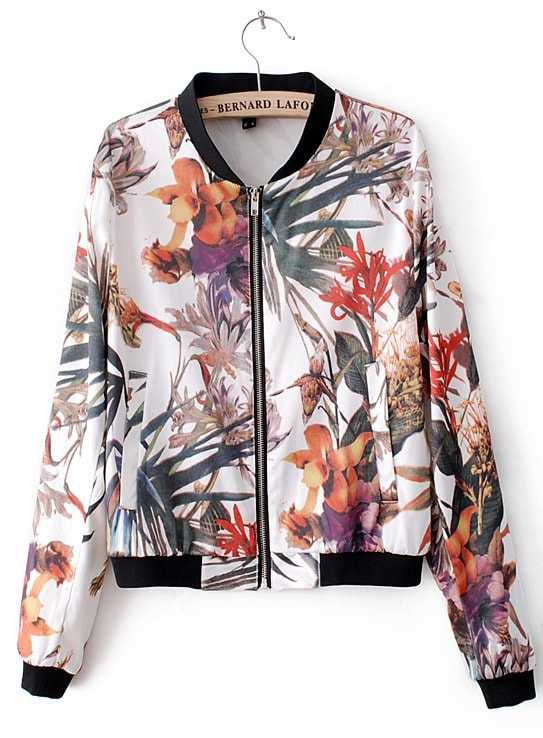 White Long Sleeve Flowers Print Bomber Jacket -SheIn(Sheinside)