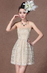 Champagne Sleeveless Embroidered Flower Short Dress