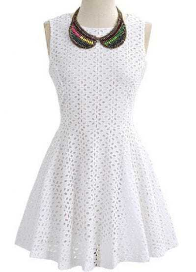 White Sleeveless Laser Out Flare Short Dress -SheIn(Sheinside)
