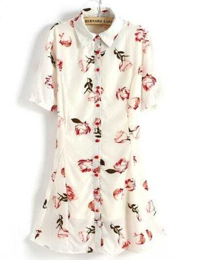 Beige Short Sleeve Rose Print Flare Hem Shirt Dress