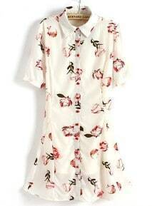 Beige Short Sleeve Rose Print Flare Hem Shirt Dress