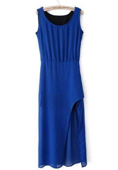 Royal Blue Split Side Chiffon Tank Dress
