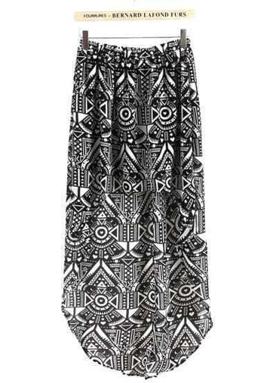 Black and White Geometric High-low Skirt