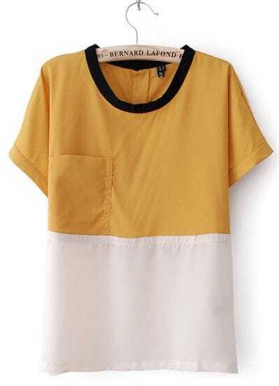 Yellow and White Batwing Turn-up Sleeve Pocket Blouse