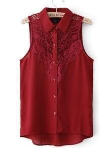 Burgundy Sleeveless Crochet Lace Front Shirt