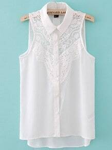 White Sleeveless Crochet Lace Front Shirt