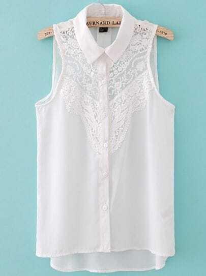 White Sleeveless Crochet Lace Front Shirt