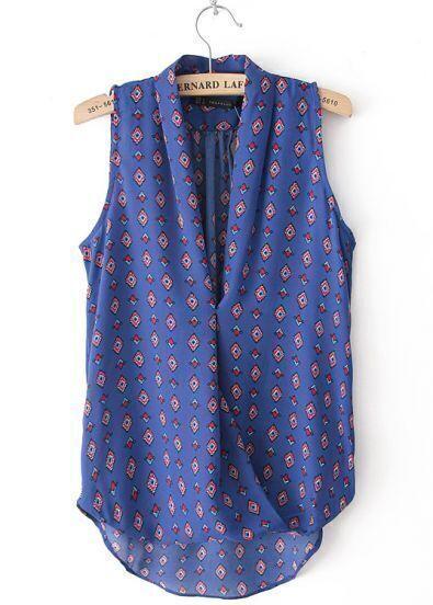Blue Sleeveless Wrap V-neck Rhombus Print Blouse