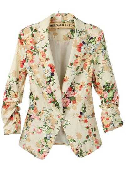 Apricot Long Ruched Sleeve Florals Print Blazer
