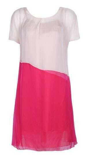 Beige Short Sleeve Contrast Panel Shift Silk Dress
