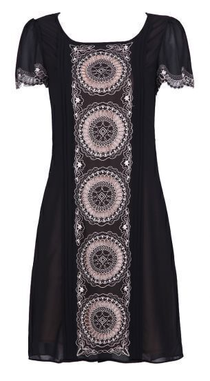Black Short Sleeve Laser Out Embroidery Circle Print Dress