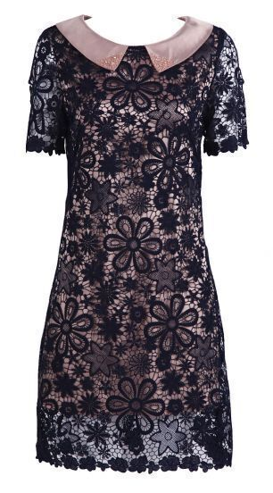 Black Rhinestone Collar Laser Out Embroidered Dress