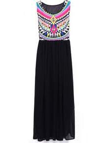Black Sleeveless Geometric Tribal Print Chiffon Dress