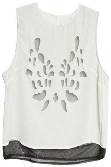 White Double-layered Hollow-out Flower Vest