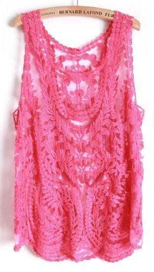Rose Red Sleeveless Leaf Sheer Crochet Lace Vest