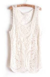 Beige Sleeveless Leaf Sheer Crochet Lace Vest