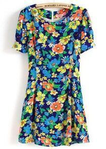 Blue Short Sleeve Floral Back Zipper Dress