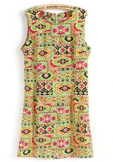 Green Sleeveless Geometric Print Back Zipper Dress