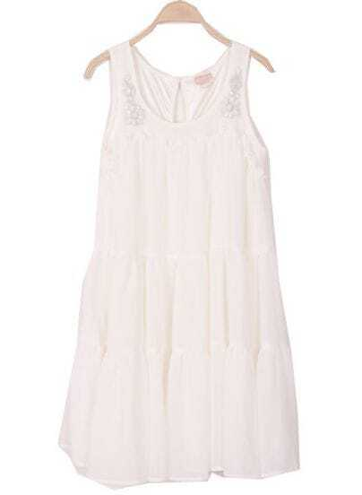 White Sleeveless Rhinestone Embellished Chiffon Dress