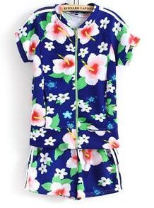 Blue Short Sleeve Zipper Floral Blouse With Shorts