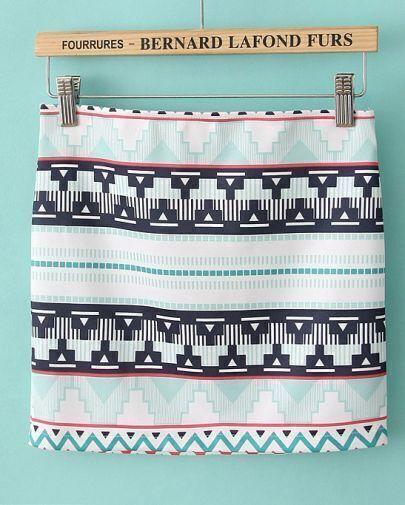 White Geometric Print A-line Mini Skirt