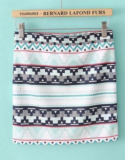 White Geometric Print Elastic Waist Skirt