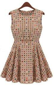 Khaki Sleeveless Polka Dot High Waist Skater Dress